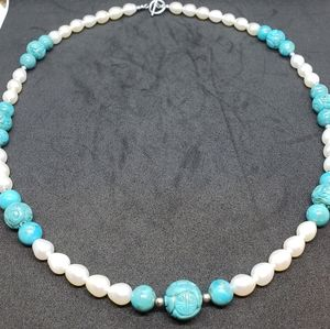 Turquoise and Freshwater Cultured Pearl Necklace